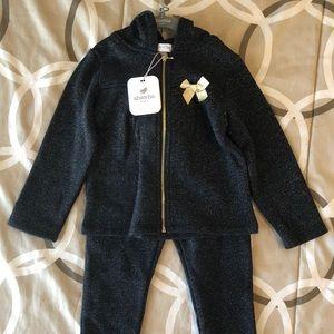 24 Months Black Fleece Zip Up Hoodie Pant Set New
